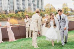 Calgary Wedding Photographer Classic Timeless Bride SAIT Memorial Bow River Riley Park Fur Coat - 76