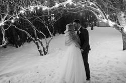 Calgary Wedding Photographer Winter Night Photo Falling Snow Flash - 44