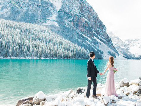 Calgary Lake Louise Wedding Photographer: Engagement Session in Lake Louise, Moraine Lake, and Bow L