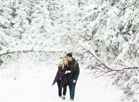Calgary Engagement Photographer: Bebo Grove Fish Creek Park Winter Wonderland - Gabrielle & Ian