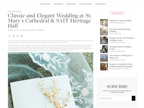 Stacey and Ryan's Classic Wedding Featured on Calgary Bride!