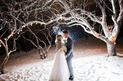 night time snow calgary wedding