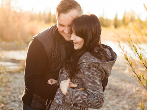 Calgary Wedding Photographer: Engagement Session at Elbow River's Clearwater Park - Alexa & Brant