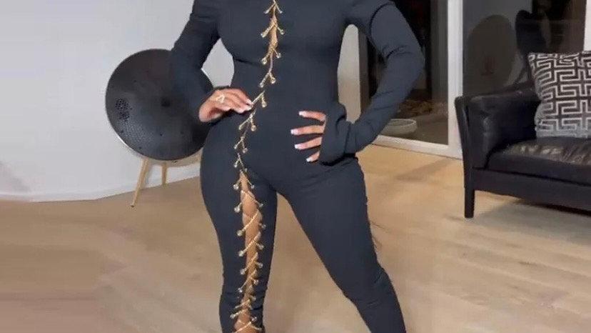 Lace up jumpsuit