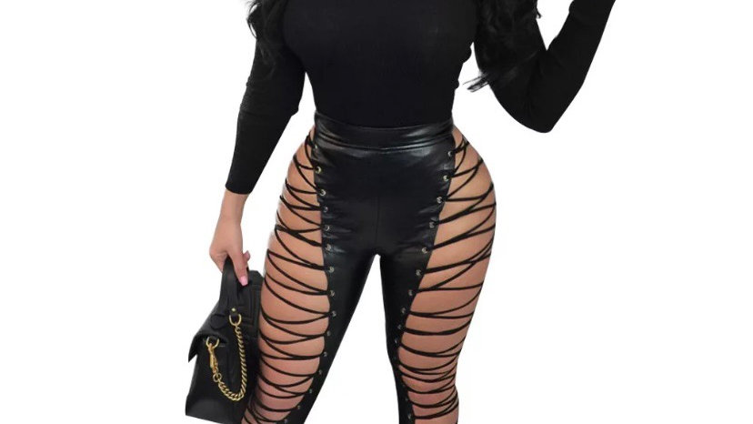 Leather lace up pants