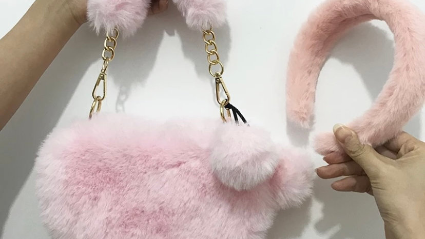 Furry headband\purse set