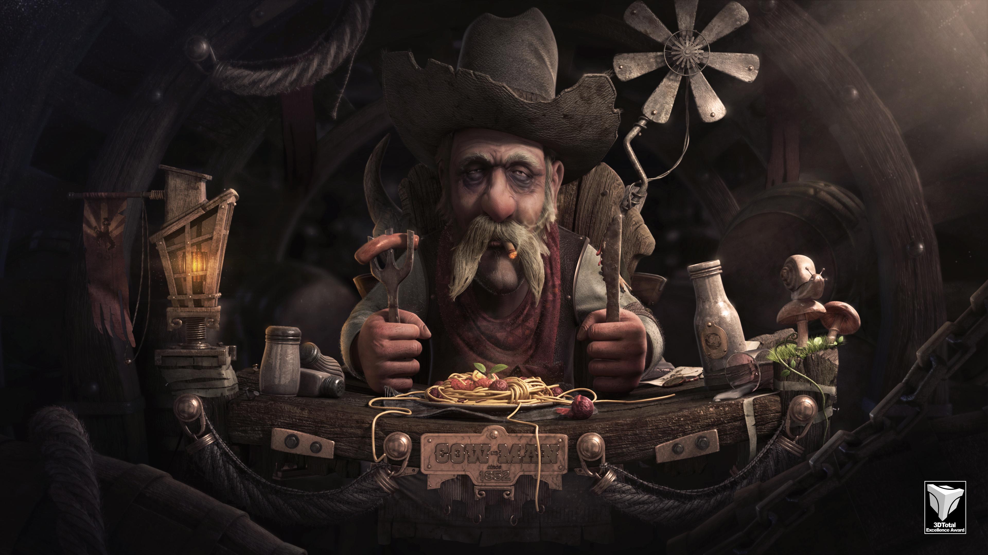Cowman With His spaghetti