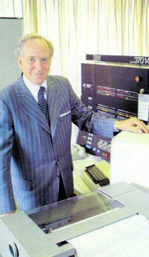 Ottó standing by an IBM computer, 1981
