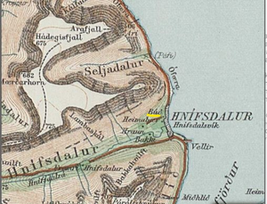 map of hnífsdalur, iceland