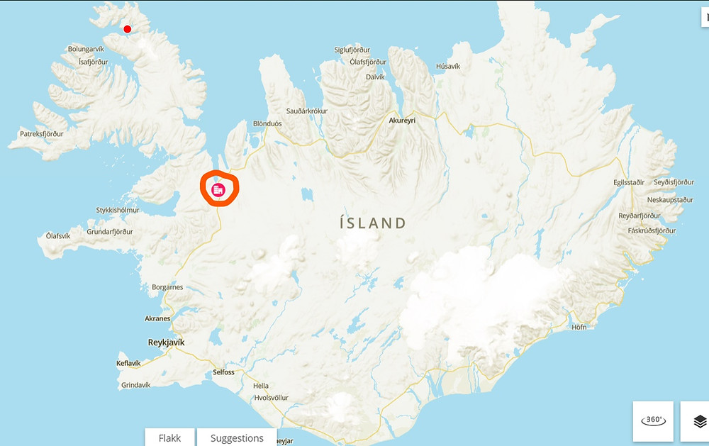 A map of Iceland with the town of Borðeyri circled in orange. Riishús is located in Borðeyri and Icelandic Roots gave a grant towards its restoration in 2020. #historiciceland #icelandhistory #bordeyri #riishus #icelandicrootsgrants #icelandicroots