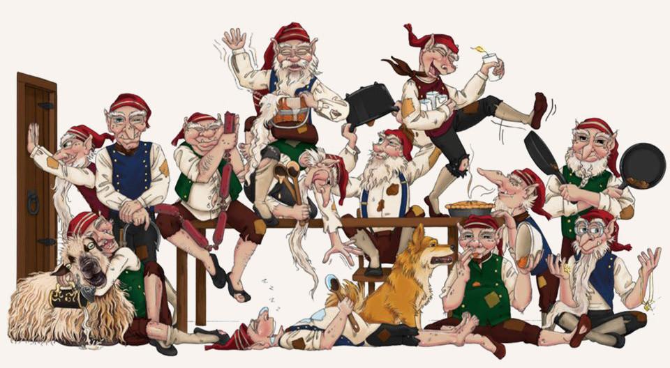 Cartoon image of the 13 Icelandic Yule Lads