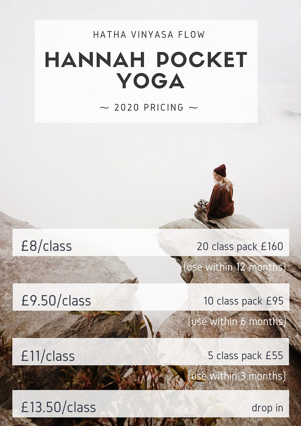 Hannah Pocket Yoga Balham Class Pricing, Class Packs and Concessions