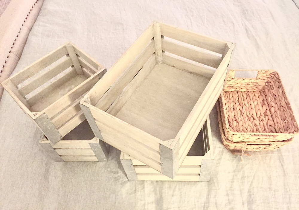 Wooden crates and jute storage baskets