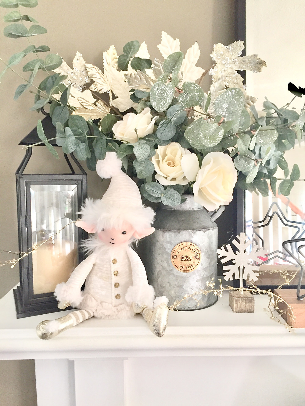 Farmhouse christmas decor mantel elf