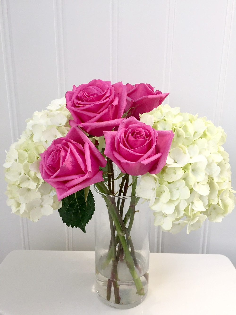 Pink roses with white hydrangeas fresh flowers