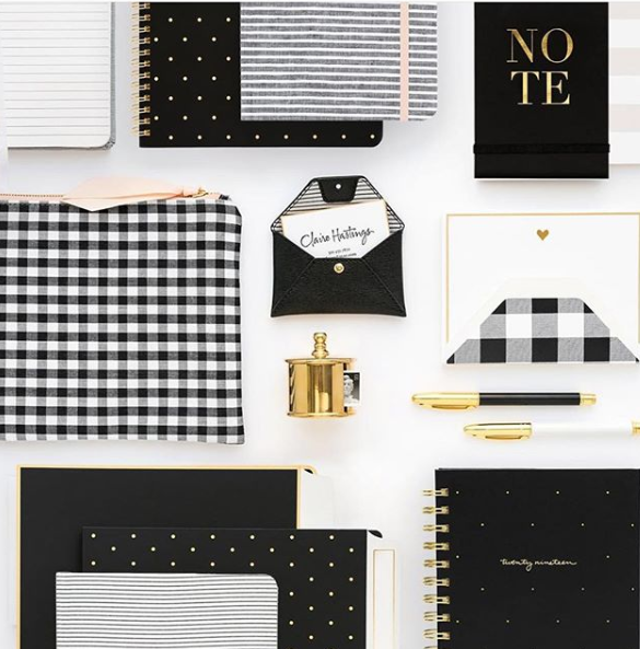 Black and white desk accessories