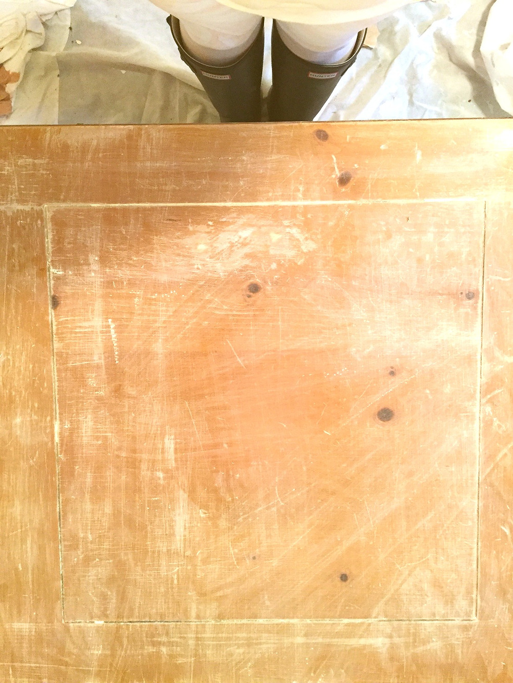 Sanded wood table