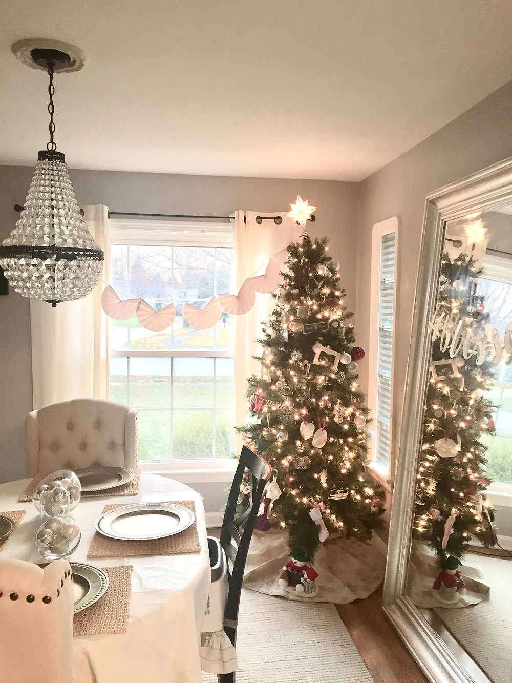 Farmhouse Christmas tree dining room decor