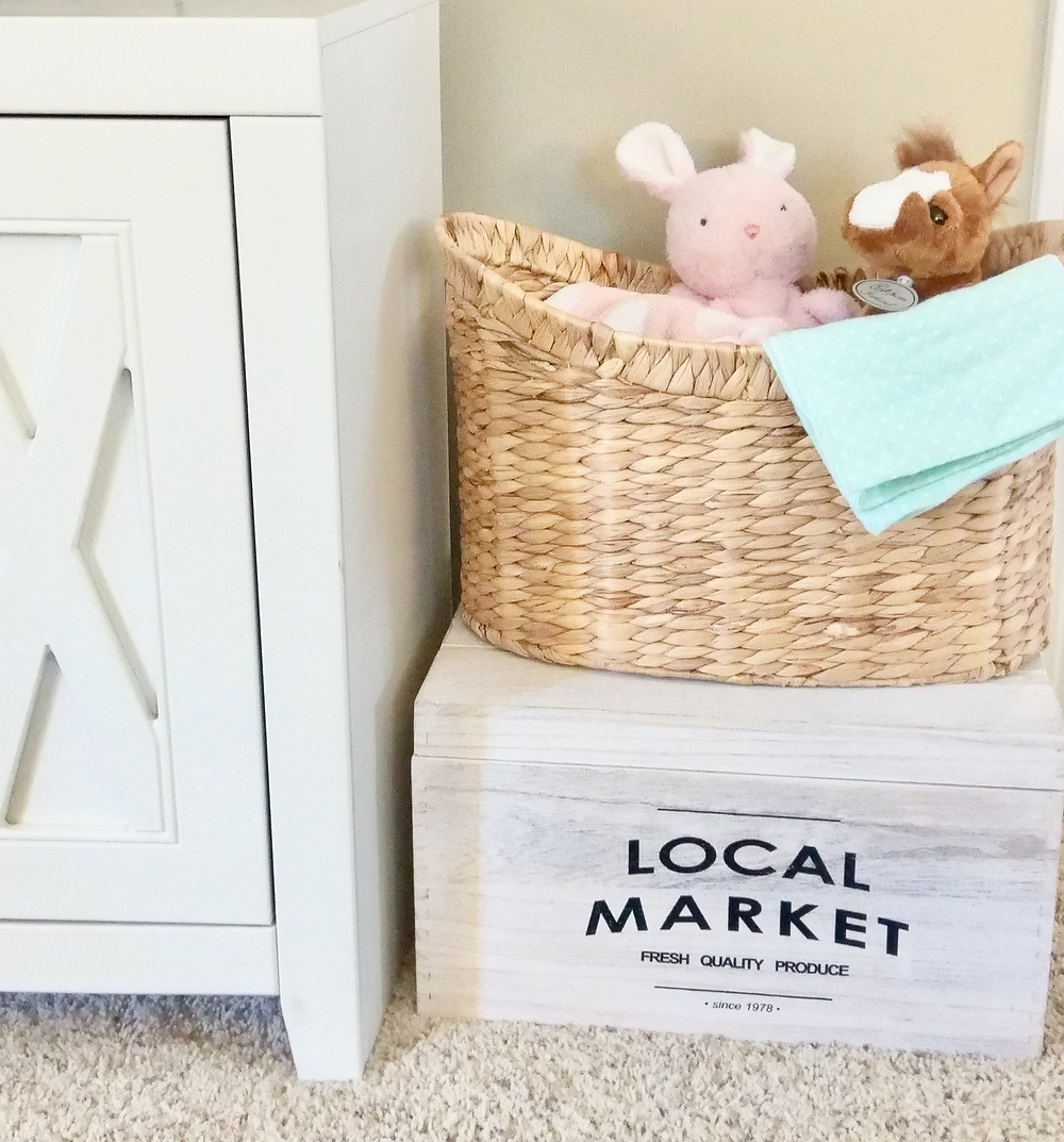 Farmhouse-style toy box with natural basket