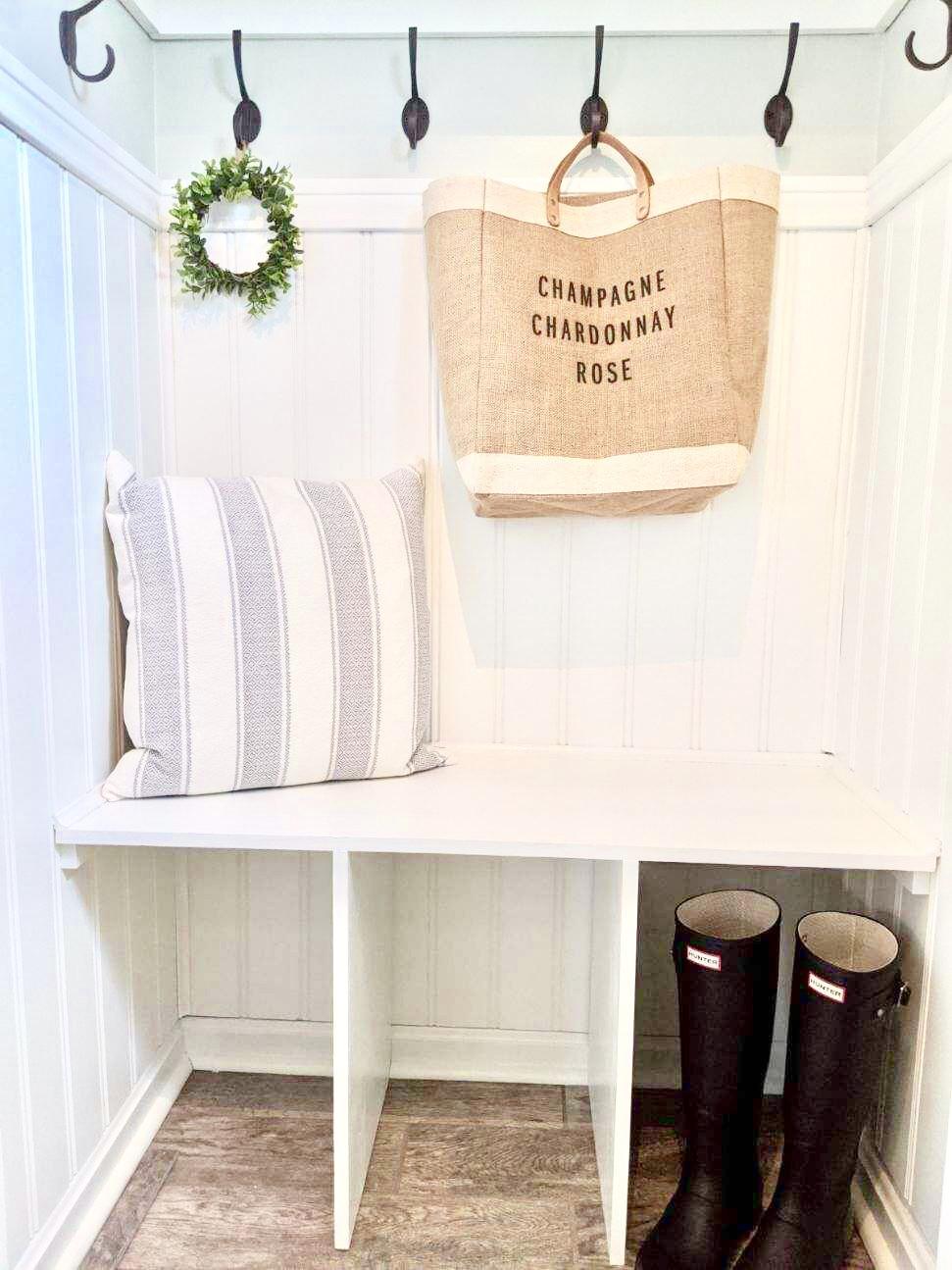 Farmhouse coastal mudroom foyer closet DIY design