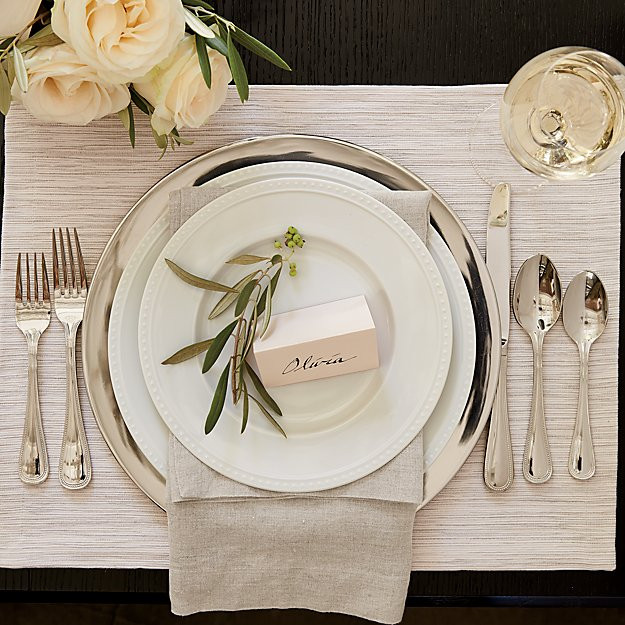 Silver and white chic elegant dining table place setting Crate & Barrel