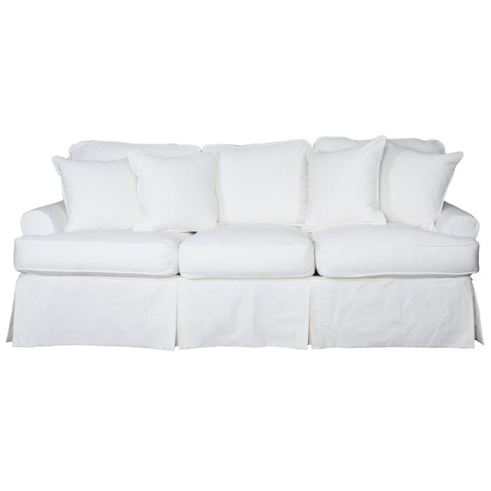 White slipcovered sofa Wayfair coastal decor