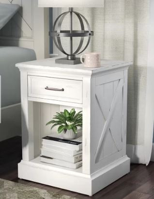 white farmhouse style wood nightstand