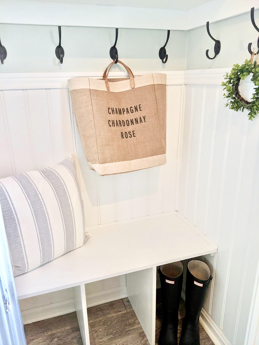 Farmhouse coastal DIY foyer closet mudroom interior design