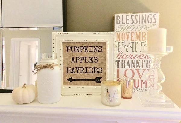Fall farmhouse mantle home decor