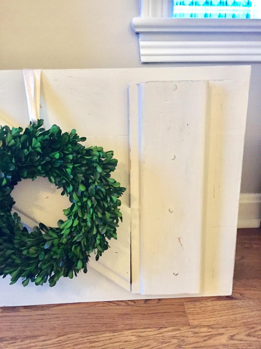 Boxwood wreath vintage kitchen cupboard door DIY