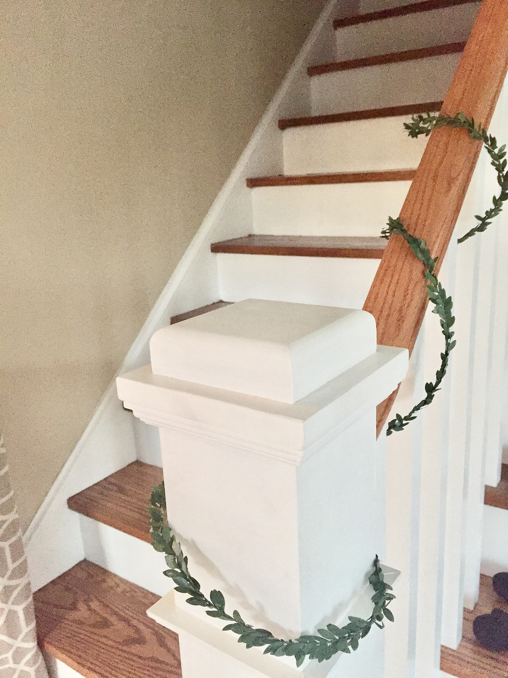 Green holiday Christmas garland banister