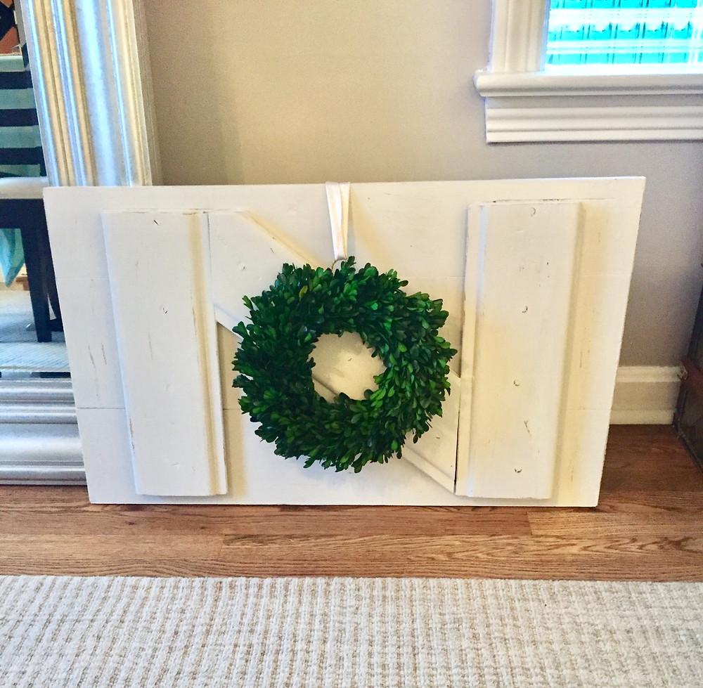 Distressed vintage kitchen cupboard door DIY with wreath