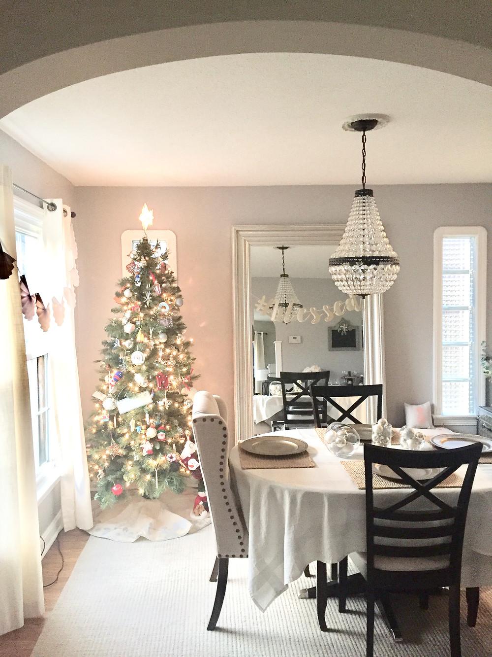 Farmhouse Christmas tree dining room decor