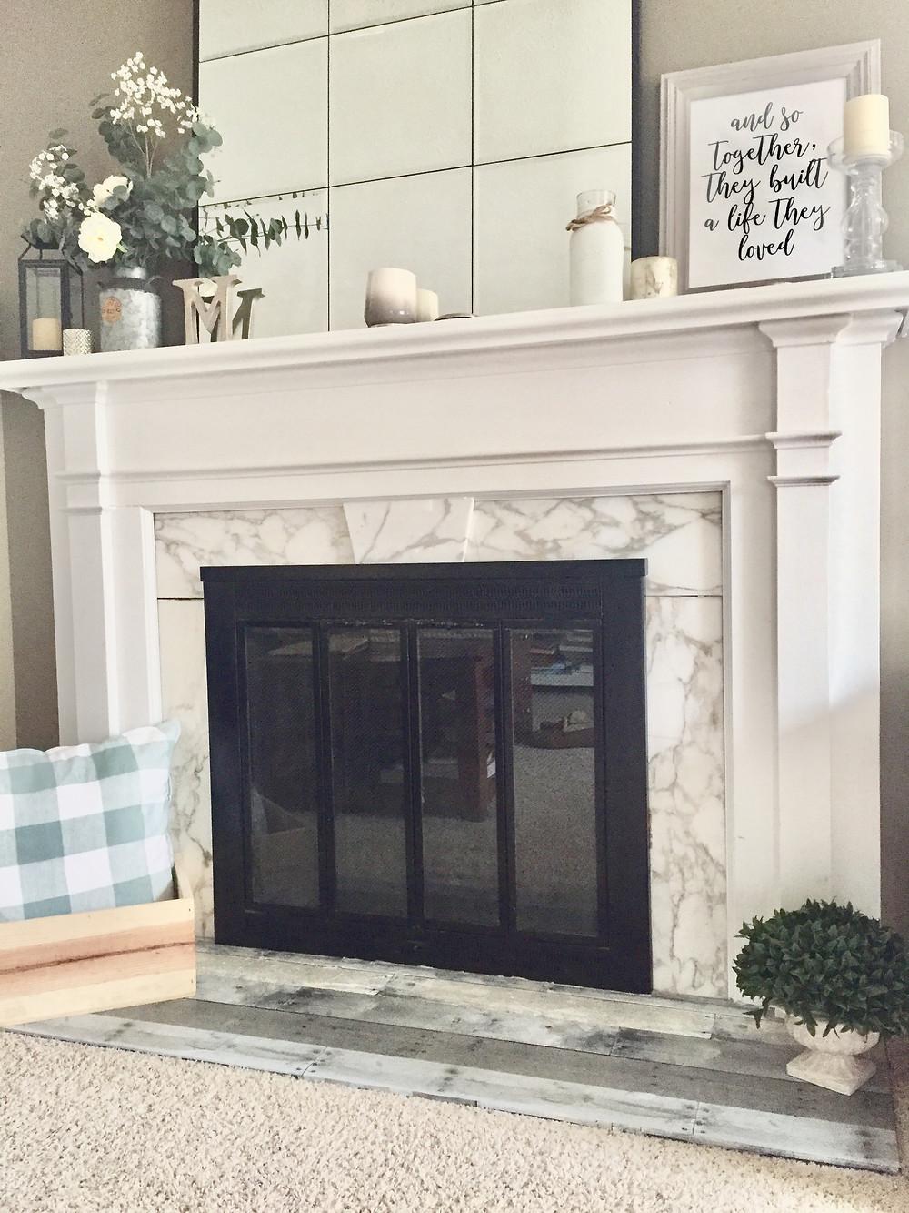 Reclaimed wood simple DIY fireplace hearth redo