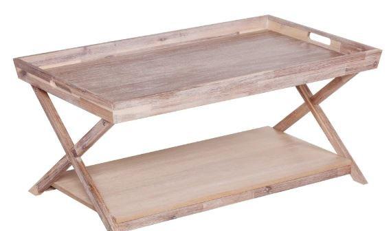 Whitewashed wood coffee table coastal decor