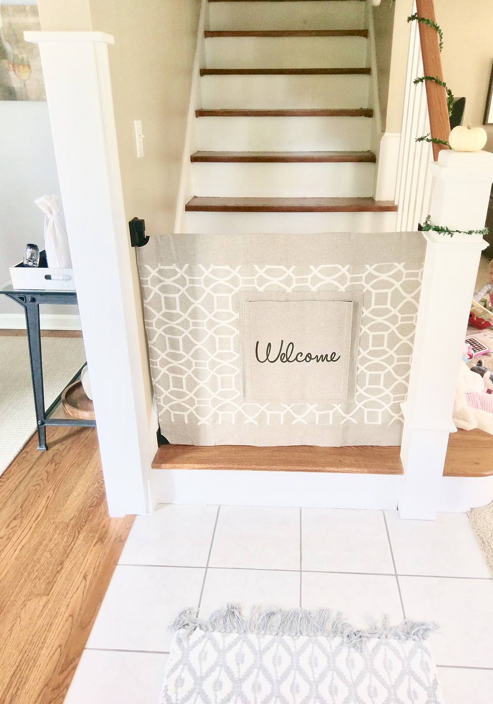 Stylish infant baby gate for stairs