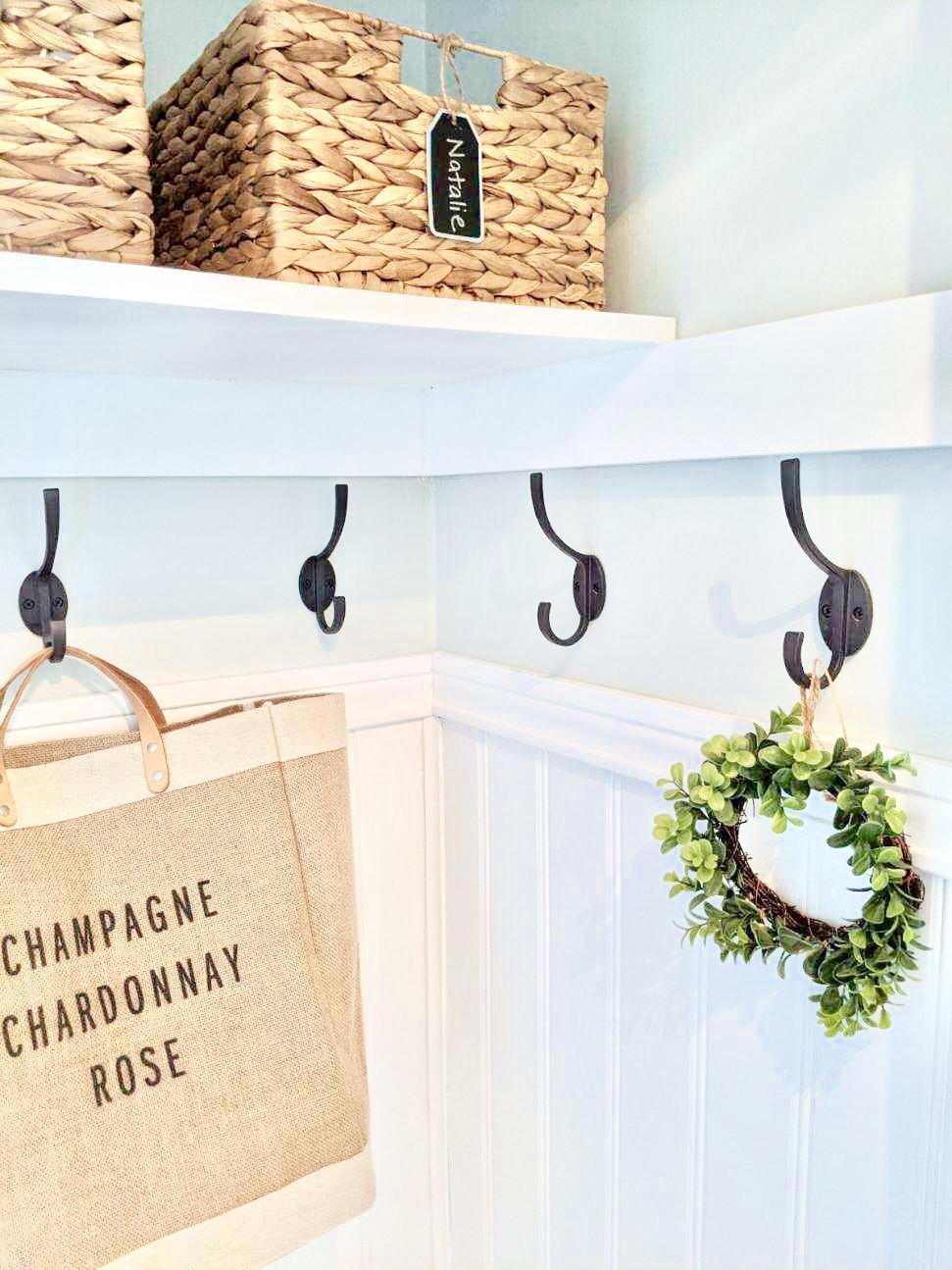 Farmhouse coastal closet foyer mudroom redesign DIY