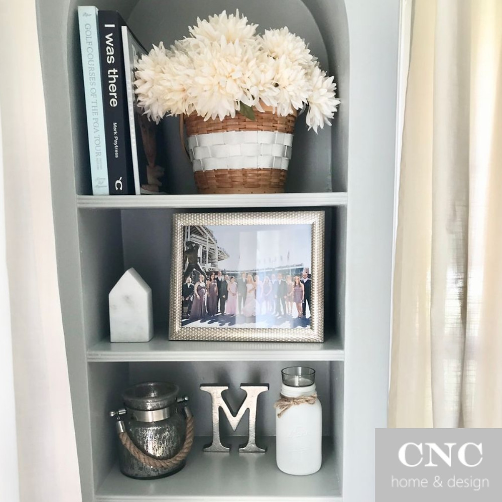 Home decor built in shelves styling design tips