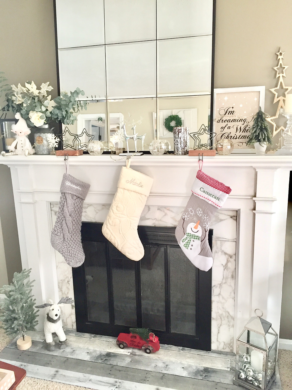 Farmhouse christmas decor mantel holiday