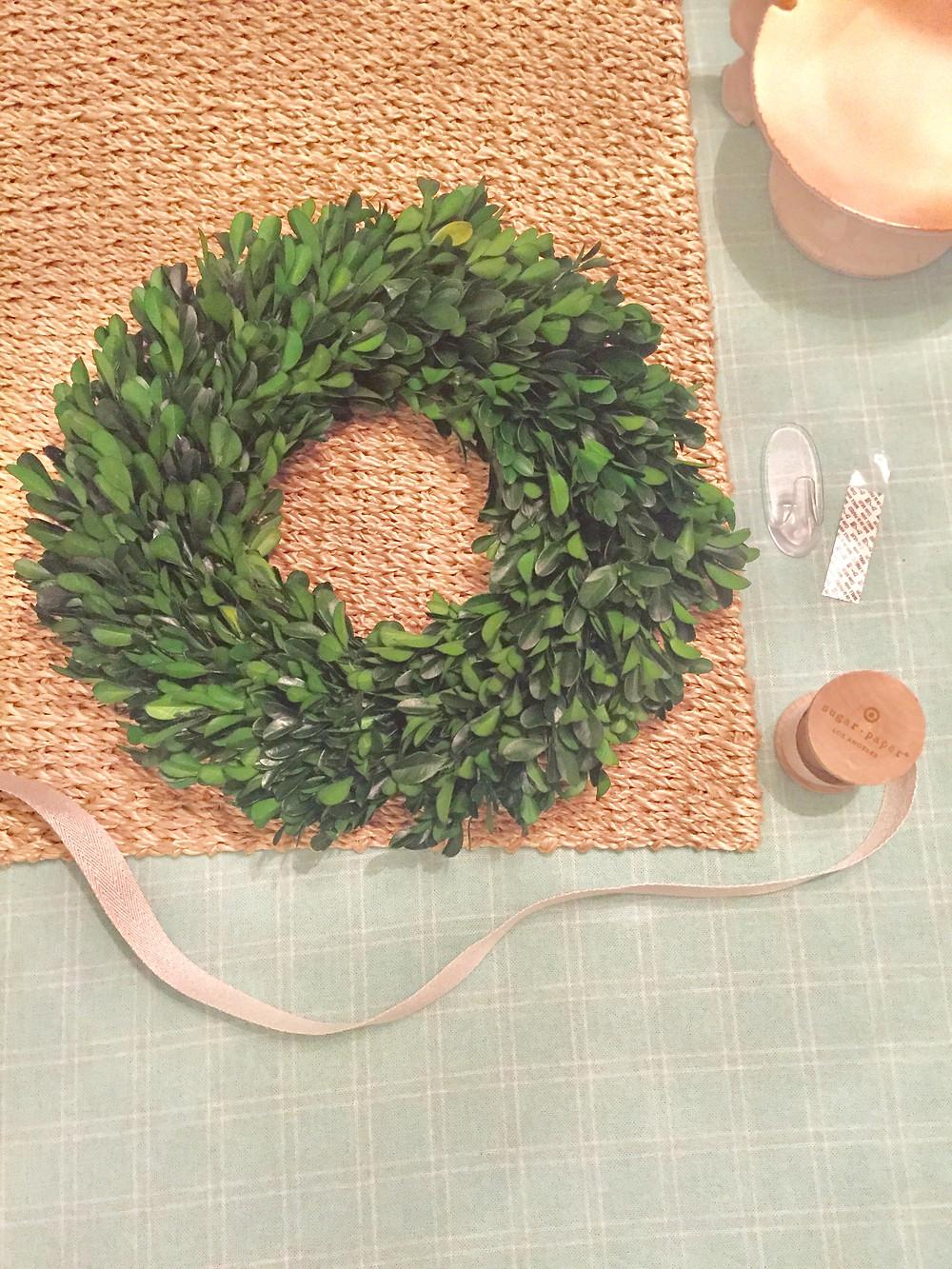 Boxwood wreath with ribbon & Command hooks