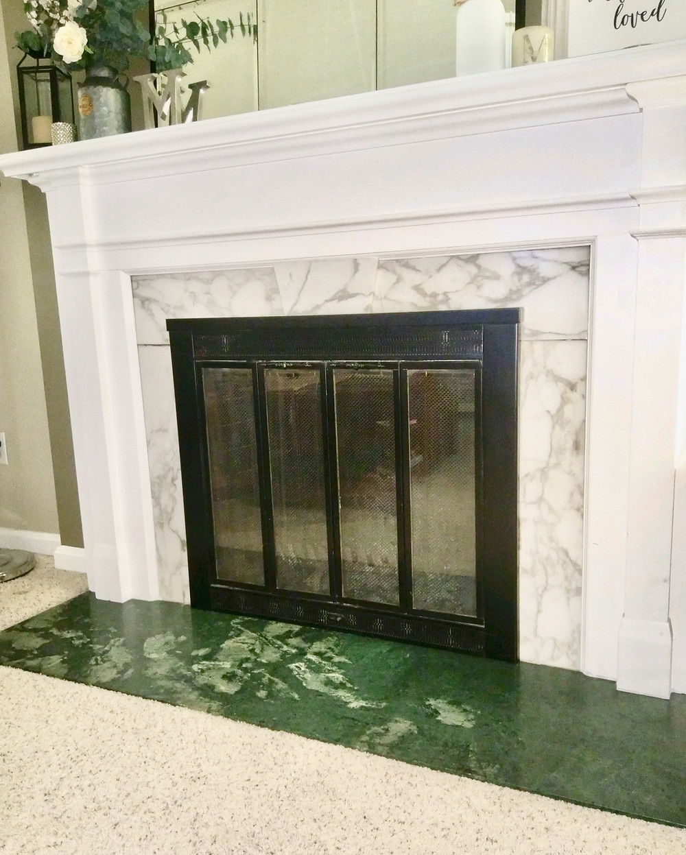 Green marble fireplace hearth