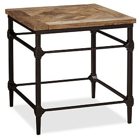 Parquet reclaimed wood end table.JPG