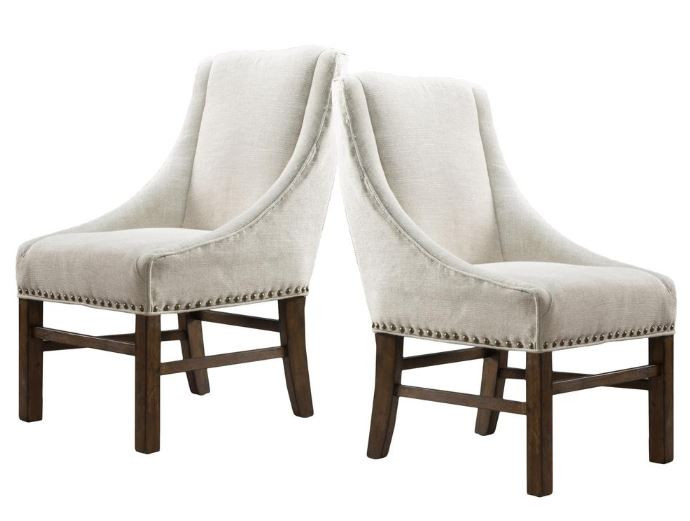 Nailhead upholstered dining chairs