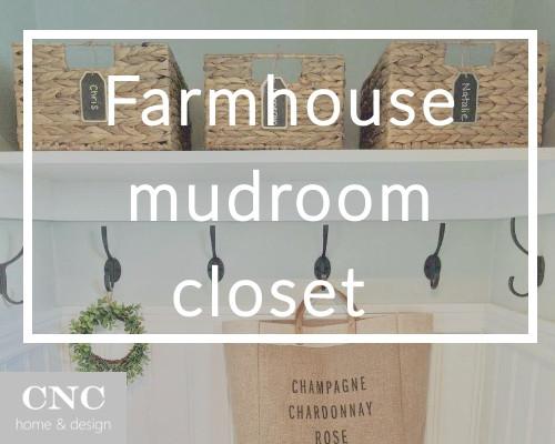 Farmhouse coastal mudroom closet design