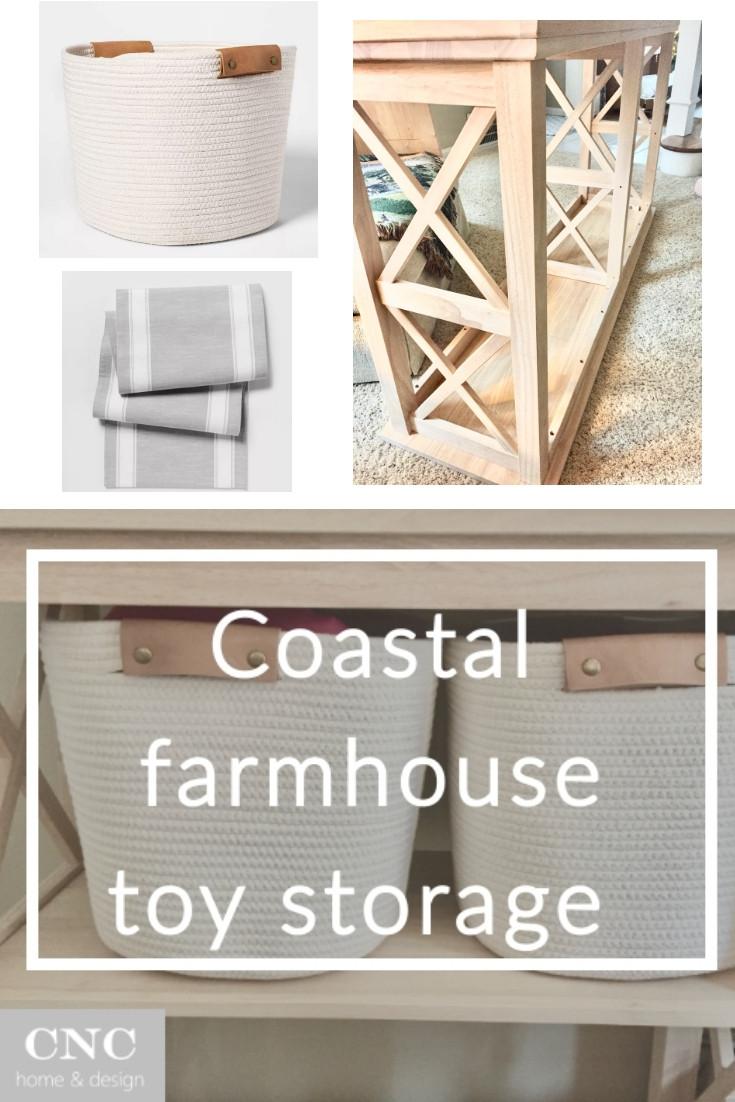Coastal farmhouse toy storage ideas