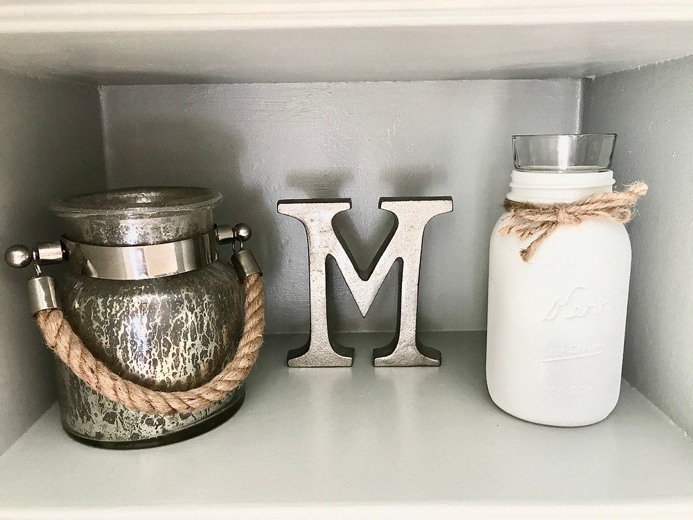 Built ins shelf styling home decor tips lantern mason jar