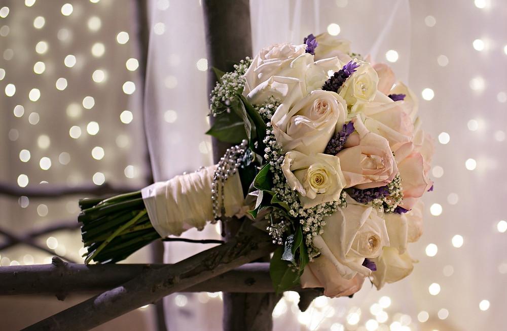 Pastel roses lavender bridal bouquet