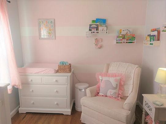 Baby girl pink gray nursery interior des