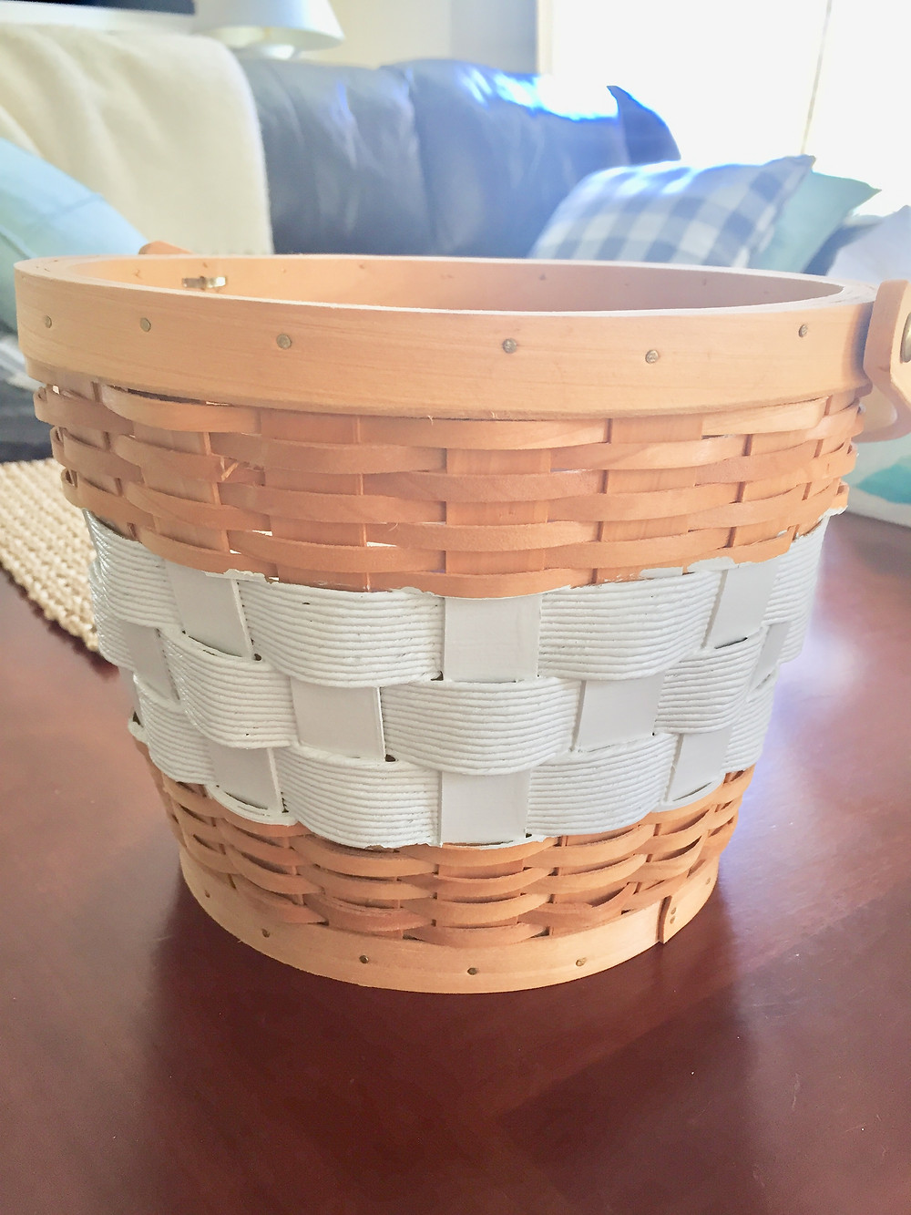 Painted wood woven basket