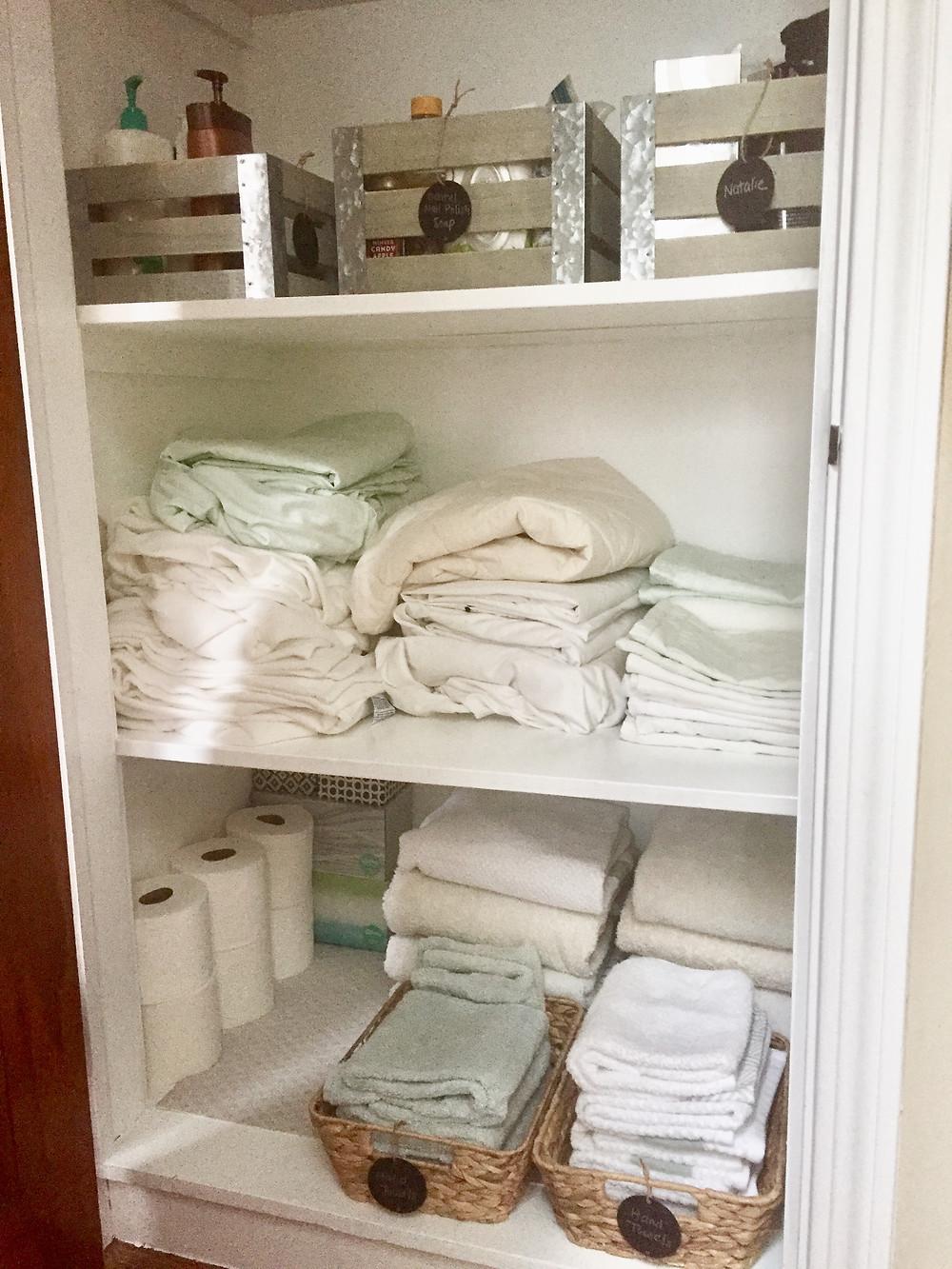 DIY linen closet reorganize